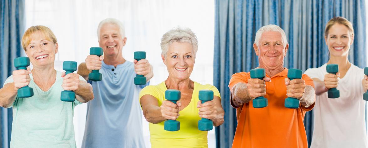 Active seniors exercising